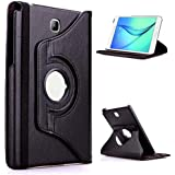 Tgk 360 Degree Rotating Leather Smart Rotary Swivel Stand Case Cover For Samsung Galaxy Tab A  8.0 Inch  Sm T350, T351, T355  2015 Model    Black