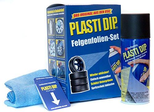 Plasti Dip Spray (Plasti Dip Felgenfolien-Set 4x 325 ml Schwarz inkl. Mikrofasertuch und Sprühkarten - Original Performix USA Produkt)