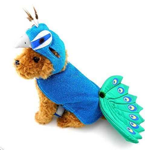 SELMAI Hundekostüm, Pfauenmotiv, mit Hut, verstellbar, Blau