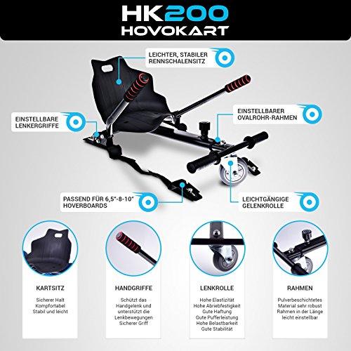 Bluewheel Hovokart HK200 Sitz Erweiterung für 6, 5 - 10 Zoll Hoverboard, E-Kart, Elektro Go-Kart, Sitzaufsatz, Schalensitz & Umbausatz, anpassbarer Stahl-Rahmen - 3