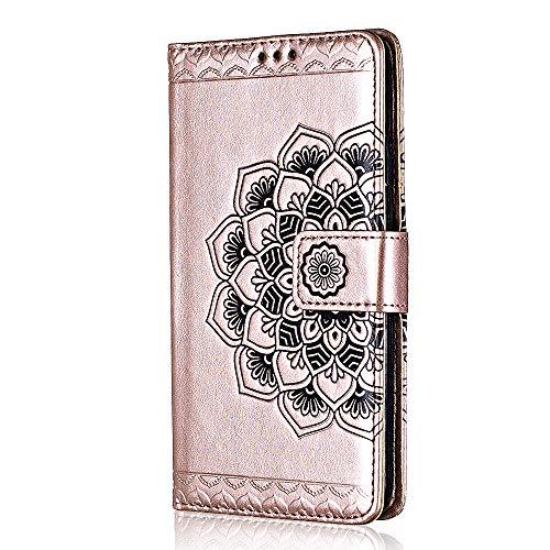 lus Hülle, Bear Village® Leder Flip Hülle Weich Silikon Back Case Brieftasche Handyhülle mit Magnetverschluss und Standfunktion für Apple iPhone 6 Plus / 6s Plus (#2 Roségold) ()
