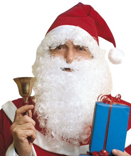 Widmann 1533Q - Perücke Weihnachtsmann, Mütze mit Haaren, Maxi Bart mit Schnurrbart und Augenbrauen