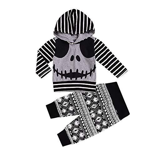 Loalirando Baby Halloween Kostüm Neugeborenes Baby Mädchen Warm Hoodie T-Shirt Top + Hose Outfits Set Kleidung Set (9-18 Monate, Grau)