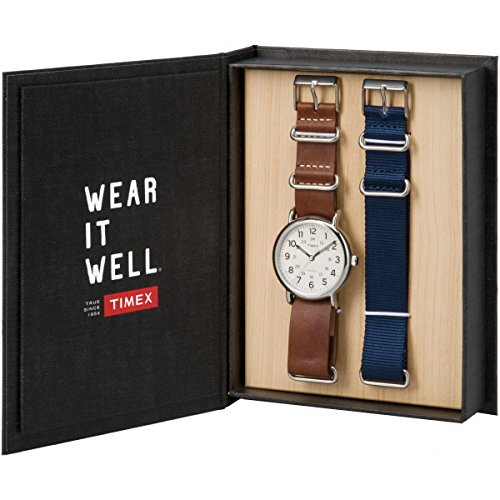 Timex Unisex Erwachsene Analog-Digital Quarz Uhr mit Leder Armband TWG012500