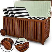 Deuba® Auflagenbox   Akazien Hartholz   Innenplane   Räder   117cm   Holztruhe Kissenbox Truhe Gartenbox Gartentruhe