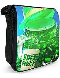 Shot Of Luck Green Hat Beer For St Patricks Day Small Black Canvas Shoulder Bag / Handbag