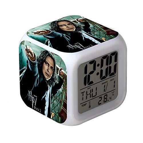 QIANXIAN Harry Potter Alarm Clock Despertador Retroiluminación Colorido Digital Alarm Clock atenuador Relojes de luz Nocturna Suave niños,008