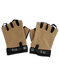 sourcingmap® Motif pois Fermeture détachable gants Marron/noir pour hommes