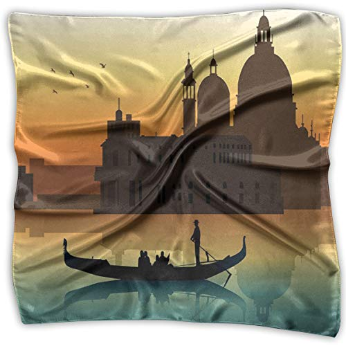 a Head and Neck Tie Neckerchief Headdress Silk-Like,People In Gondolas Venice City Of Historical Importance Abstract Illustration,Square Scarves Bandana Scarf ()