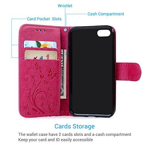 Coque de Protection pour iPhone 7 4.7 Pouces, Phone Case Flip Cover Clapet 2 en 1 PU Cuir avec TPU Souple Fermeture Magnétique Motif Relief Papillon - Rose Rouge