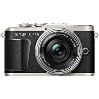 Olympus PEN E-PL9 16 MP Compact System Camera with Electric Zoom, 4K Movies, 3-Inch Display, Wi-Fi and 14 - 42 mm Pancake Lens - Black