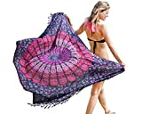 Boho Chic Sarong – Gorgeous Hand-Printed Bohemian Pareo – Endlessly Versatile Uses: Bikini Swimsuit Cover Up, Beach Blanket, Tapestry, Dress, Wrap by Mandala Life ART