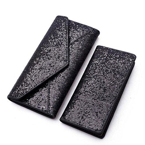 Malloom® 2 STÜCKE Mode Frauen Pailletten Brieftasche Clutch Kartenhalter Geldbörse + Kleine Tasche (schwarz) -