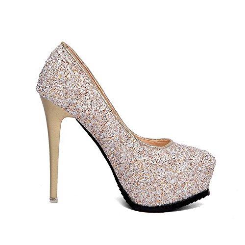 AalarDom Femme Mosaïque Stylet Rond Tire Chaussures Légeres Doré-Tissu à Paillette