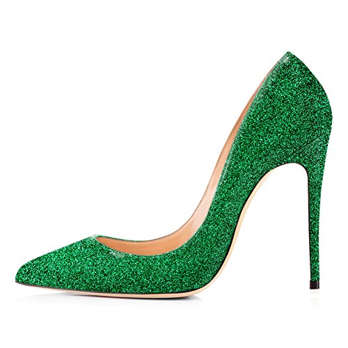 Onlymaker High Heels, Women's Glitter Slip-On Pumps Pointy Toe Party Dress Wedding Shoes Green EU 45 (Green Toe Schuhe)
