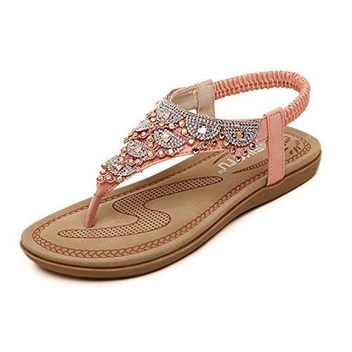 men Sommerschuhe,Frauen Künstlicher Strass T-Strap Sommer Schuhe Schuh Damenschuhe Flip Flops Shoes Sandaletten Frauen Flache Offene Freizeitschuhe Strandschuhe (40, Rosa) ()
