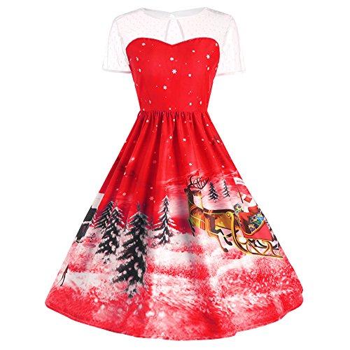 iBaste Vintage Rockabilly Spitze Cocktailkleid Ballkleider Swing Knielang Weihnachten Kleid...