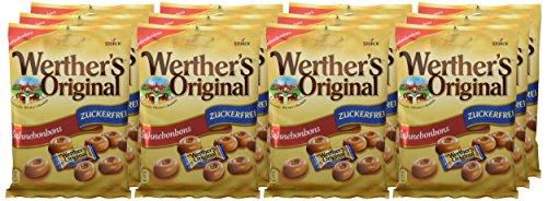 Werther\'s Original Sahnebonbons zuckerfrei - Schmackhafte Karamellbonbons ohne Zucker zum Naschen für dieganze Familie - (12 x 70g Packung)