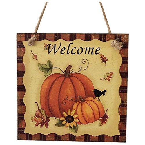 (TOOGOO(R) Hoelzernes haengendes Plakette Zeichen Thanksgiving Tuer Aufhaenger Wand Dekorationen Partei Dekor Foto Staender Stuetzen (Kuerbis u. Willkommen))