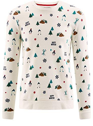 oodji Ultra Herren Gerade Geschnittener Weihnachtspullover mit Winterdruck Weiß (1245G)