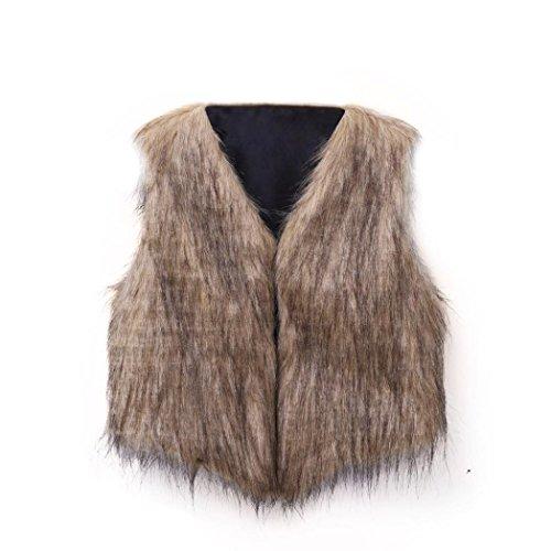Out let,giacca primavera invernale,maglie a manica lunga,yanhoo® capispalla per gilet senza maniche in pelliccia sintetica calda da donna (s, caffè)