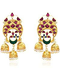 Ahilya Jewels Jhumki .925 Sterling Silver Gold PlatedDrop Earrings