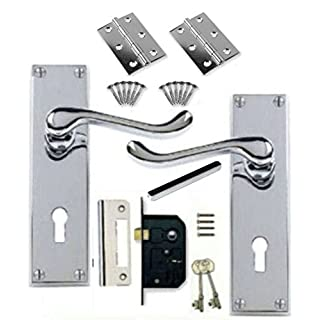 Victorian Scroll Polished Chrome Door Handle Lock Pack +2 Lever Lock +Hinges