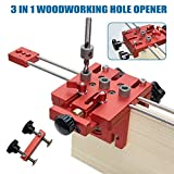 Mooyod 3 in 1 Woodworking Drilling Locater Positioner Aluminium Alloy Durable Tools