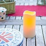 Lights4fun LED Kerze für Außen mit Timer 15cm
