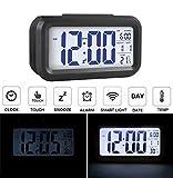 Audew Réveil Silencieux LED Digital Horloge Alarm Rétro-éclairage Date Affichage Température Pour Maison Voiture Voyage Bureau Bleu