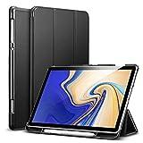 ESR Funda para Samsung Tab S4 2018 Silicona [Auto-Desbloquear] [Botones Protegidos] Función de Soporte de Cuero Sintético y Plástico Duro Smart Cover -Negro
