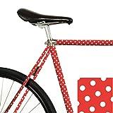 MOOXI-Bike Fahrrad-Folie Polka Dots - weiße Punkte auf rot (ausreichend für Teilbereiche)