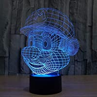 Cliquez pour ouvrir la vue développée Super Mario Figuras 3D Illusion Lumières Lampe, LED Table Desk Decor 7 Couleurs…