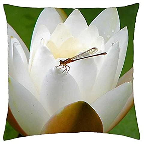 Dragonfly on a Water Lily - Throw Pillow Cover Case (18