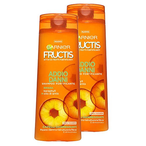 Garnier Fructis Shampoo Addio Danni per Capelli Danneggiati con Karaphyll e Olio di Alma, senza Parabeni - Confezione da 2 Unità