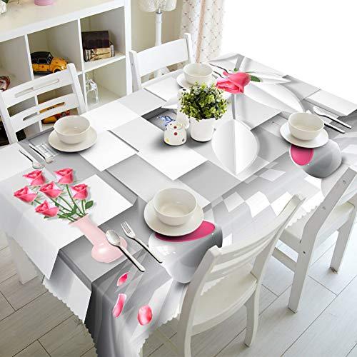 Lejia tovaglia modello di fiore tovaglia su misura 3d antipolvere addensare cotone wedding party tessuto tovaglia rettangolare per la casa