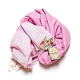 Fouta Abeille Hamam-Tuch Sauna-Tuch Pestemal Peshtemal XXL Extra Groß 197 x 100cm – 100% Baumwolle aus Tunesien als Strand-Tuch, für Bad, Picnic, Yoga, Schal (Orientalisches Türkisches Bade-Tuch) … (Rosa) - 3
