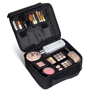 Kosmetikkoffer für Damen, SOLOFISH Kosmetik Organizer Make up Tasche mit Fächer und Griff Kosmetische Box Tragbare Reise Künstler Aufbewahrungstasche mit einstellbaren Teiler, Schwarz