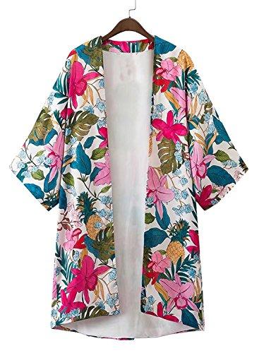 Futurino Damen Blumendruck 3/4 Ärmel Hoch Niedrig Offen Vorne Kimono Cover Up