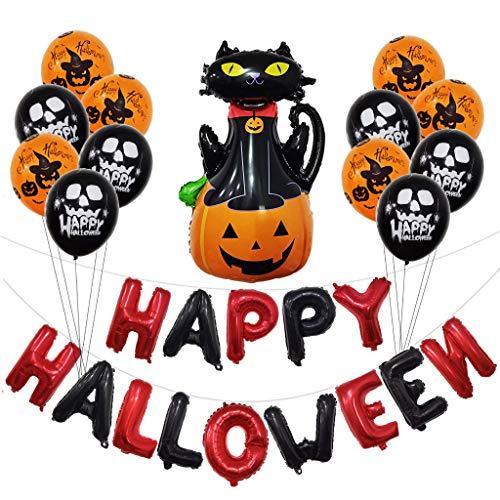 Heetey Halloween Dekoration Halloween Party Supplies Festliche Atmosphäre Dekoration Kit Bar Hängende Dekoration Horror Kombination Ballon Feier Party Kunst Natur Wohnkultur Halloween Dekoration (Bane Katze Kostüm)