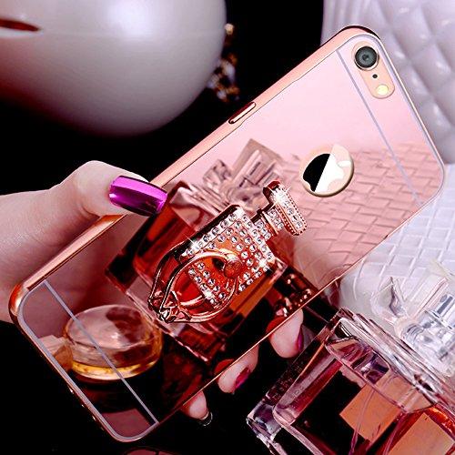 iPhone 8 Hülle,iPhone 7 Hülle,SainCat Luxus Bling Glänzend Glitzer Spiegel Hülle [Weiche Metall Rahmen + Hart PC Rückdeckel] Mirror Effect Spiegel Schutzhülle [Glitzer Diamant Square Ring Fingerhalter Parfümflasche-Roségold