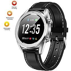"""leegoal Reloj Impermeable con rastreador de Ejercicios, DT28 1.54""""Pantalla en Color Bluetooth Reloj Inteligente con Ritmo cardíaco/presión Arterial/rastreador de Actividad para Android/iOS"""