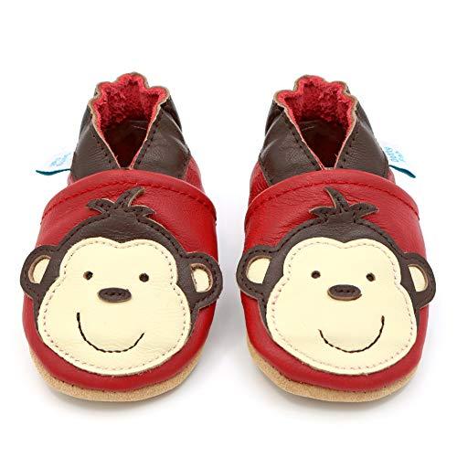 Dotty Fish weiche Leder Babyschuhe mit rutschfesten Wildledersohlen. 18-24 Monate (23 EU). AFFE Design auf roten Schuh. Jungen und Mädchen. Kleinkind Schuhe.
