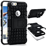 ONEFLOW iPhone 6S | Hülle Silikon Hard-Case Schwarz Outdoor Back-Cover Extrem Stoßfest Schutzhülle Grip Handyhülle für iPhone 6/6S Case Rückseite Tasche