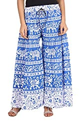 Soundarya Womens Cotton Palazzo (Blue, 40)