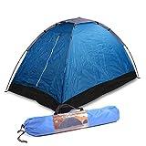 2 Mann Zelt Wasserdicht, 200x120x100 cm, blau, 1400 Gramm, Tragetasche und Befestigungsmaterial