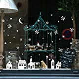 ODJOY-FAN Weihnachten Weiß Wandaufkleber Geschäft Fenster Dekoration Mauer Aufkleber Weihnachten Schneeflocken Stadt Wandtattoos Aufkleber Wall Stickers (25x35cm) (Weiß,1 PC)