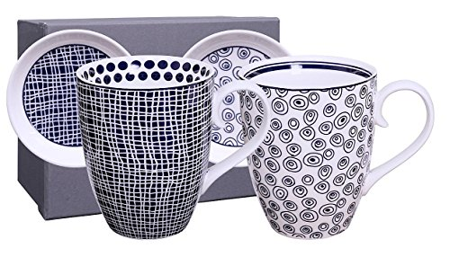 Casalanas Tokyo Design Studio, Le Bleu de Nimes, 2 Tassen Set mit Untertassen/Deckeln in dekorativer...