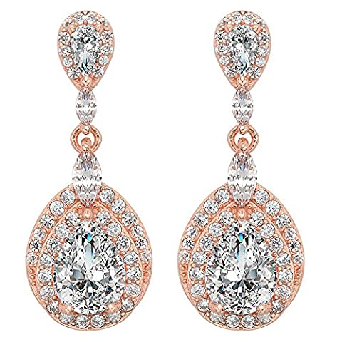 EVER FAITH® Women's 925 Sterling Silver CZ Wedding Teardrop Dangle Earrings Clear Rose Gold-Tone