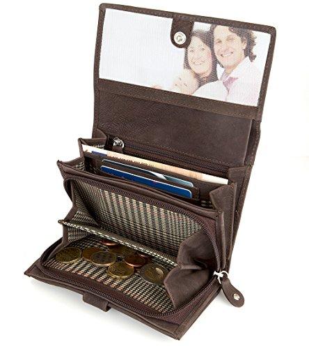 LUBEGA Elisabeth Vintage Geldbörse Geldbeutel Brieftasche Portemonnaie aus echtem Büffelleder (Braun) Echtes Leder